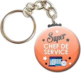 Porte Clés Chaînette 3,8 centimètres Super Chef de Service Idée Cadeau Accessoire Fête Anniversaire Noël Remerciement
