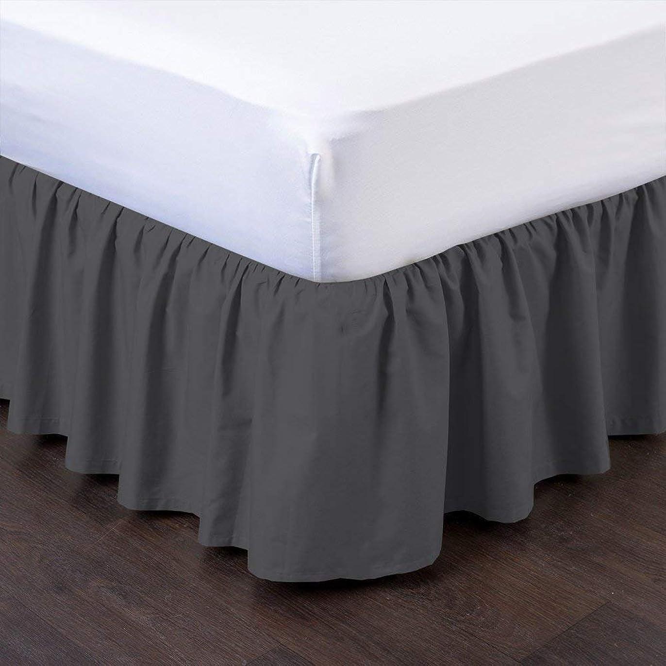 傷つきやすいパングローブUniwaresal コットンベッドスカート プラットフォーム14インチドロップダストフリル付き - ダブグレー