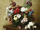 Feeling at home IMPRESSION-sur-TOILE-ENCADRÉE-Bouquet-de-fleurs-variées-Fantin-Latour-Henri-Floral-Affiche-100% coton-montee-sur-chassis-de-3cm- prêt-à-accrocher-Dimensions-51_X_67_cm