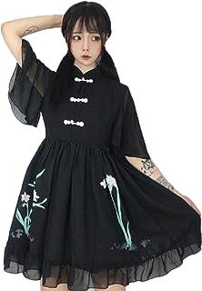 (グードコ) 汉服 ワンピ レディース ワンピース ロリータ風 半袖 刺繍あり ドレス フレア 薄手 プリント スタイリッシュ 森係