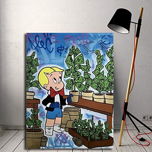 wZUN Póster de Lienzo Graffiti Alec decoración del hogar impresión Richie Rich Pintura Pared Dinero árbol Imagen para Dormitorio 60x80 Sin Marco