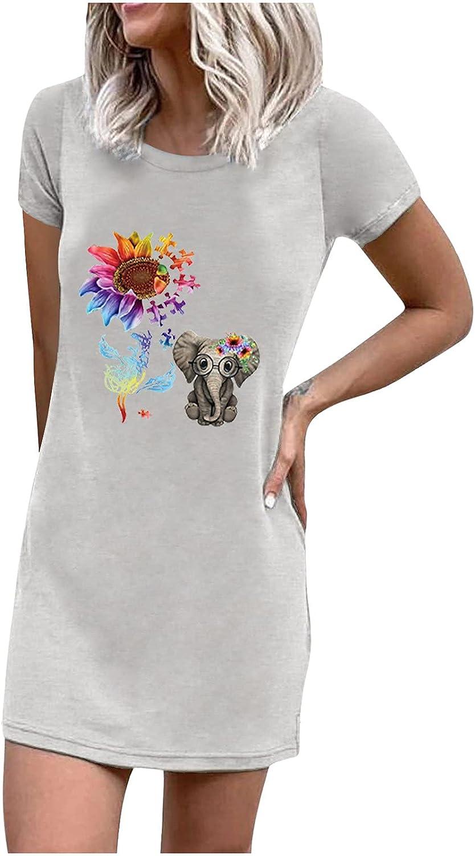 Mini Mid-Length T-Shirts for Women Printed Slim Bodysuit Tops Short Sleeve Summer Dress Basic Crewneck Blouses