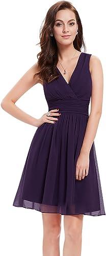 Ever Pretty Doppelt V-Ausschnitt Rueschen an Größe Elfenbein Kurz Damen Party Kleid 03989
