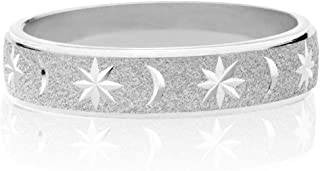 Miabella Italian 925 Sterling Silver or 18K Yellow Gold Over Silver Moon and Star Eternity Band Ring for Women Men Teens Girls