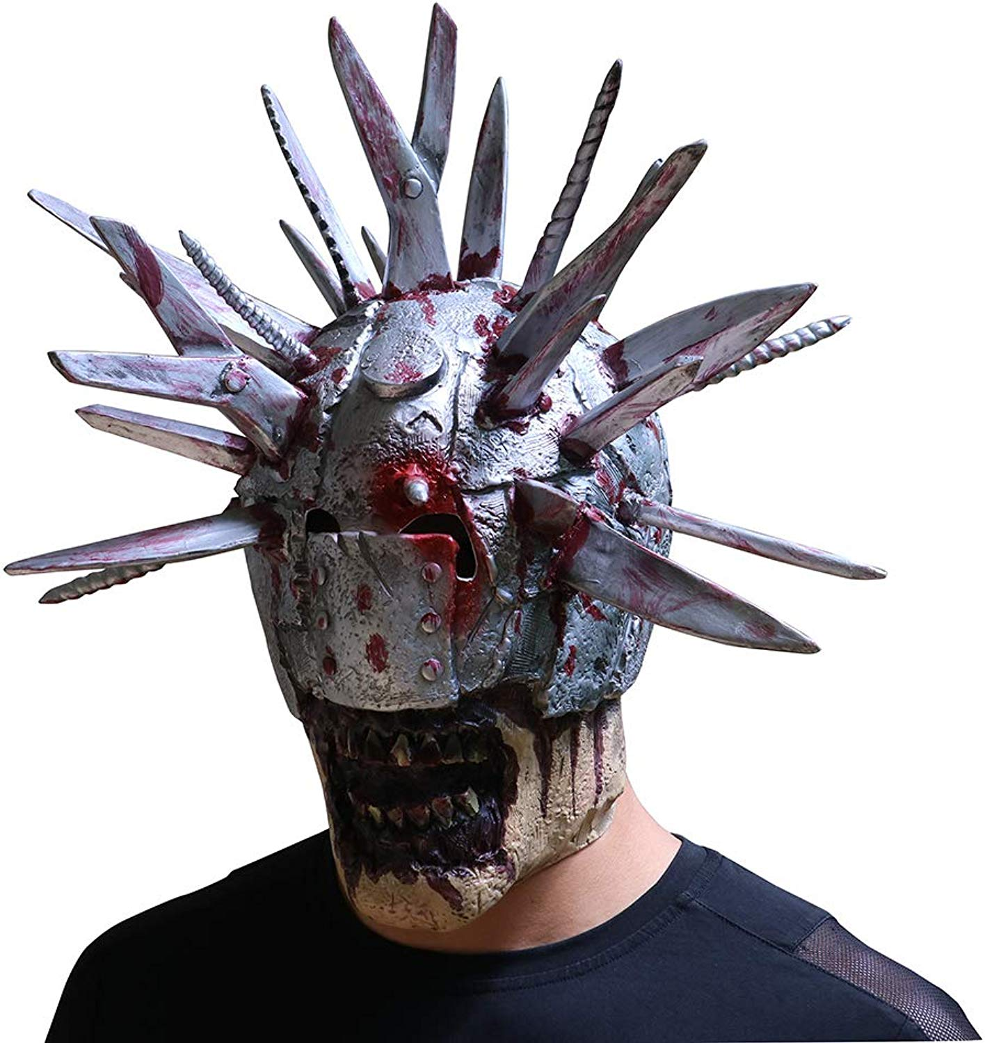 Htuttioween Horror Mask Blade uomo Creative Thriller Ghieola Latex Skull Whole Btutti Party