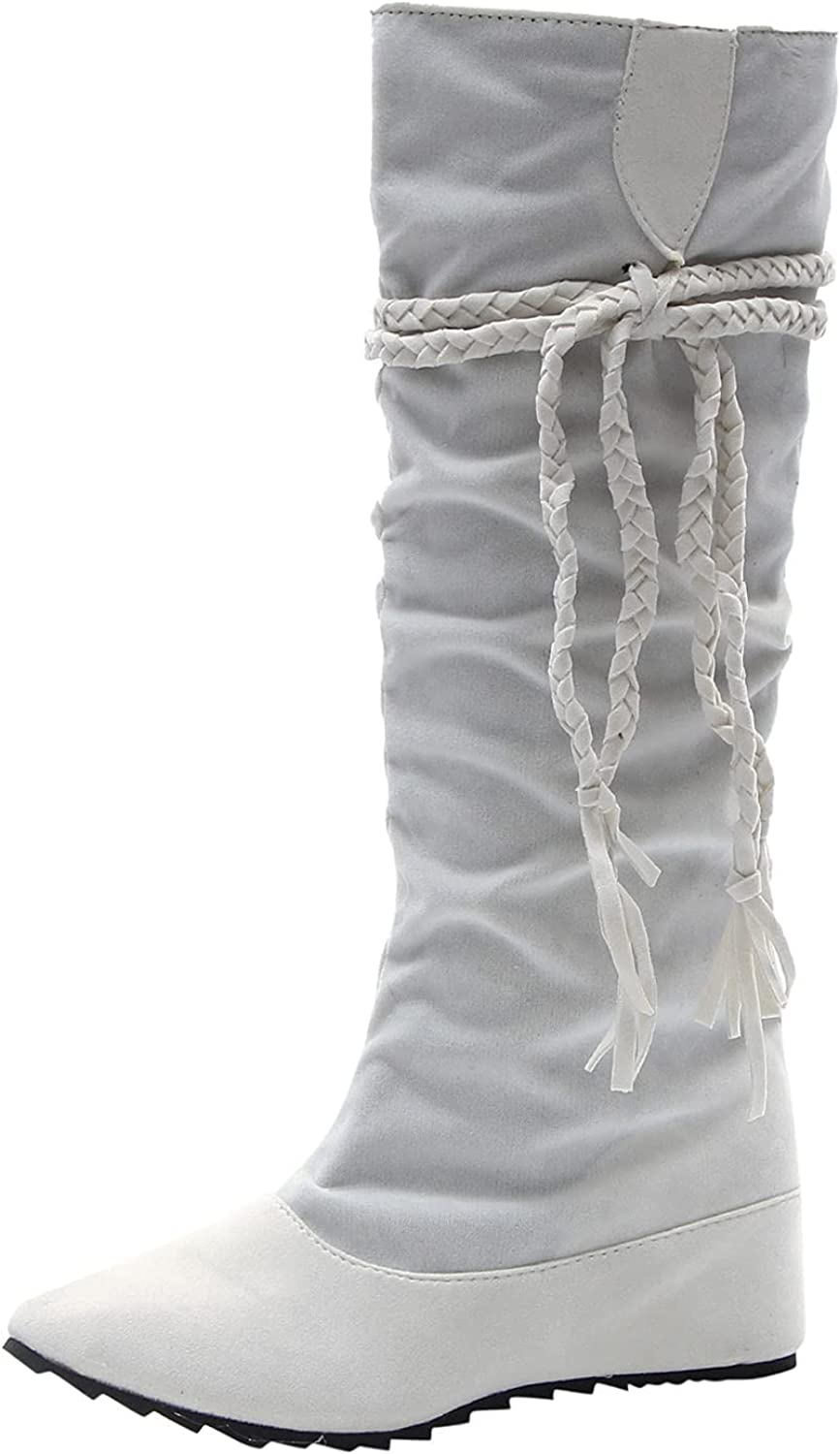 Womens Mid Calf Boots Chunky Heel Embroidered Vintage Cowgril Cowboy Western Knee High Boots