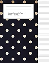 Standard Manuscript Paper: Gold Polka Dots with Navy Blank Sheet Music (Notebook for Musicians)