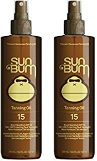 Sun Bum Moisturizing Browning Oil, SPF 15 - 9oz Bottle, Protecting Dark Browning Oil, Organic Coconut Oil, Aloe Vera (2 pack)