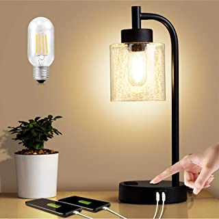 ZEEFO Touch Lamps, Dimmable Glass Lampshade Design Table Lamp Built-in Dual USB Ports and 3- Prong AC Outlet Modern Vintag...