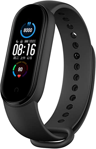"""Xiaomi Mi Band 5 Smart Band Bracelet Magnetic Charge 4 Color 1.1 """" Touch Screen Fitness Tracker 24h Heart Rate Sleep REM Nap Step Swim Sport Monitor 5ATM Waterproof Miband 5 Standard Version(Black)"""