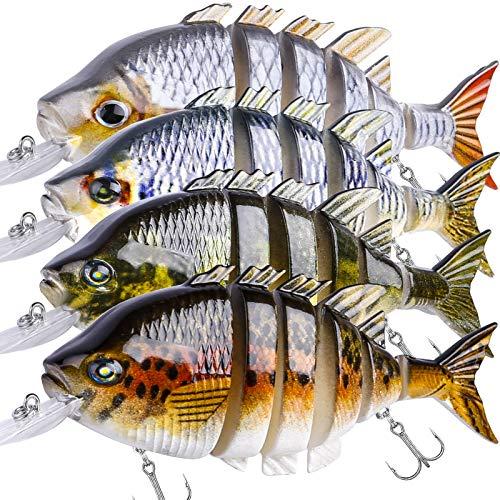 Fishing Lure Set Bass with Topwater Floating Rotating Tail Artificial Hard Bait Fishing Lures with Box/Swimbaits Slow Sinking Hard Lure Fishing Tackle Kits Lifelike (4PCS-10cm Multi Jointed Swimbaits)