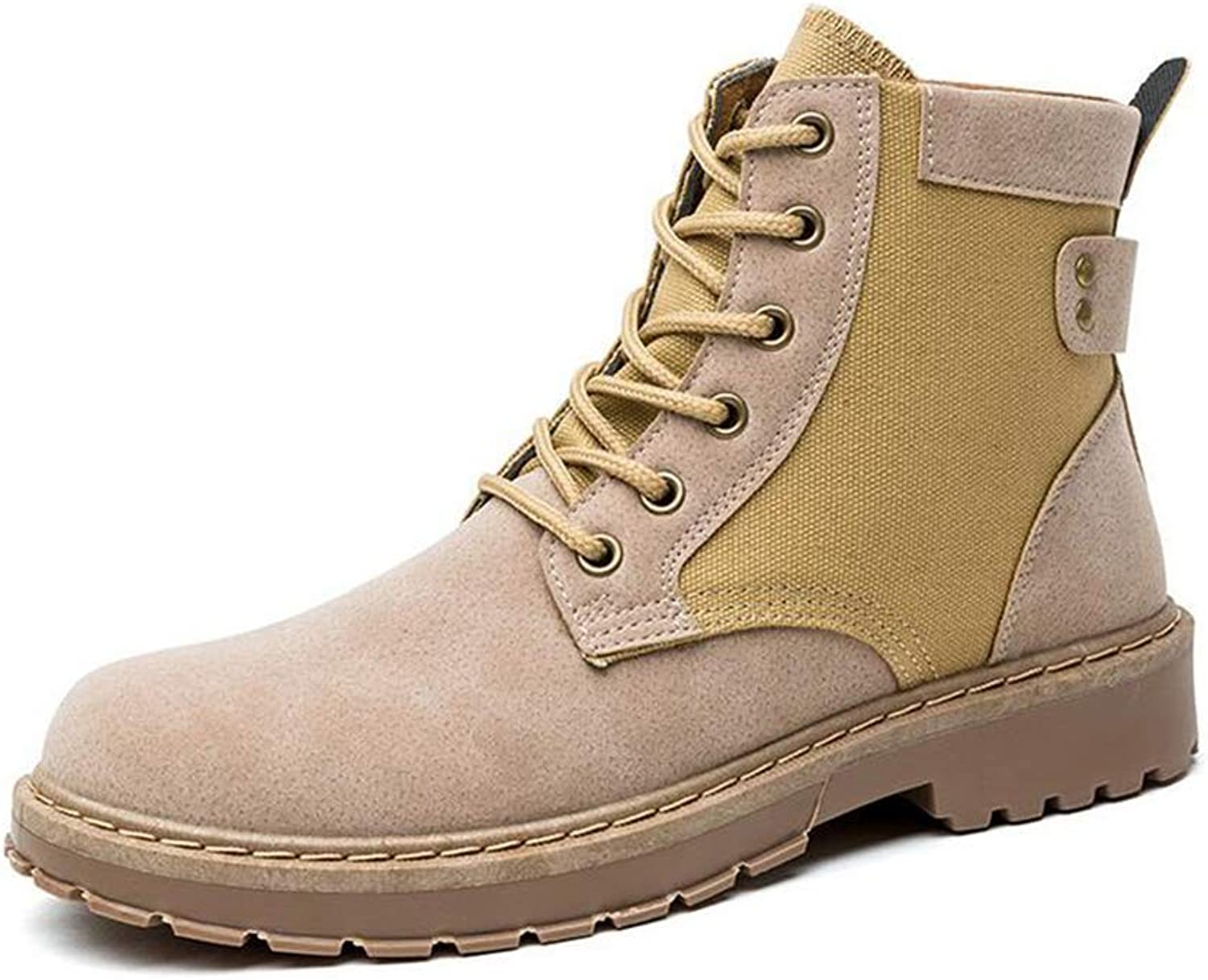 Y-H Men's Tooling Boots, Artificial PU Winter Lace-up High-top Martins Boots,Walking shoes,Retro Snow Military Boots (color   Yellow, Size   40)