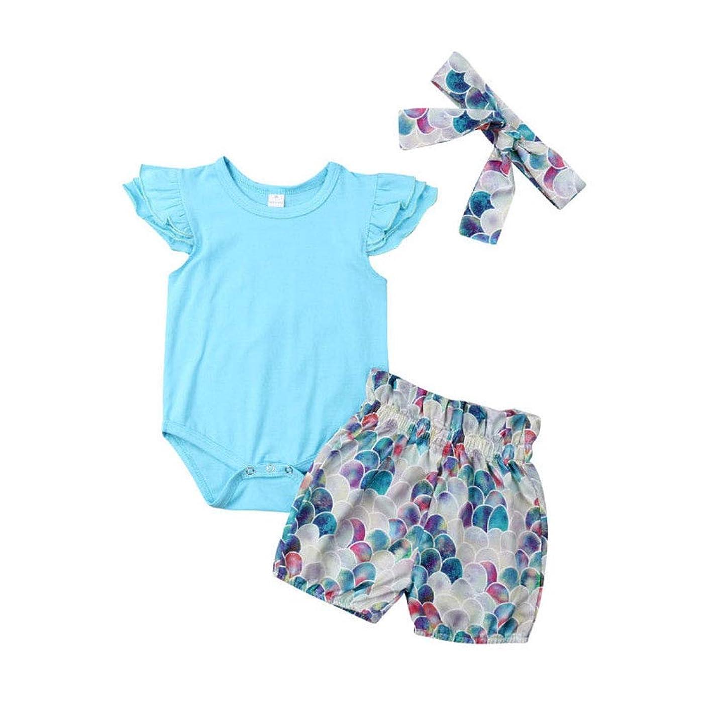 Newborn Baby Girl Ruffles Romper Bodysuit + Mermaid Shorts + Headband 3Pcs Outfit Set