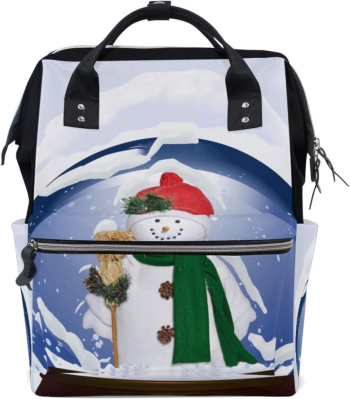 ColourLife Diaper bag Backpack Snowman Globe Tote Bag Casual Daypack Multifunctional Nappy Bags