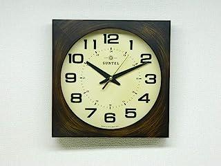 さんてる(Suntel) 掛け時計 ブラウン 280×280×65mm レトロ 電波 掛け時計(四角) アンティーク・ブラウン DQL677-AN