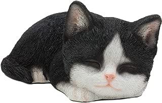 Ebros Lifelike Sleeping Tuxedo Black and White Cat Statue 7