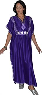 Moroccan Caftans Women Breathable Handmade Butterfly Style Embroidery Ethnic Design Purple