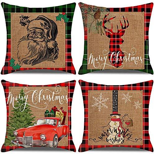 Cubiertas de Almohadas de Navidad 18x18 Pulgadas Conjunto de 4 Cubiertas de Almohadas Decoraciones navideñas ZDWN