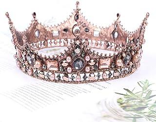 Vofler Baroque Crown Vintage Round Full Size Tiara Luxury Retro Headband Crystal Rhinestone Beads Hair Jewelry Decor for Queen Women Ladies Girls Bridal Bride Princess Birthday Wedding Pageant Party