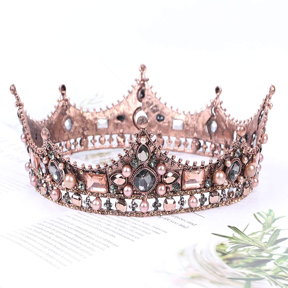 Vinsco Baroque Crown Vintage Round Full Size Tiara Luxury Retro Headband Crystal Rhinestone Beads Hair Jewelry Decor for Queen Women Ladies Girls Bridal Bride Princess Birthday Wedding Pageant Party