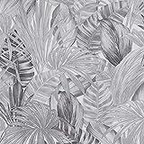 Papier peint feuille de palmier | Papier peint gris chambre, salle de bain & salon 36820-3 | Papier peint jungle intissé vinyle contemporain