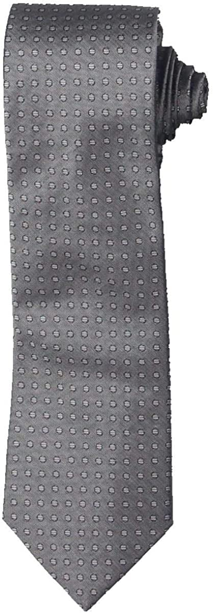 CALVIN KLEIN Mens New York Mall Gray Neat Factory outlet Classic Tie PROFESSIONAL Neck Silk