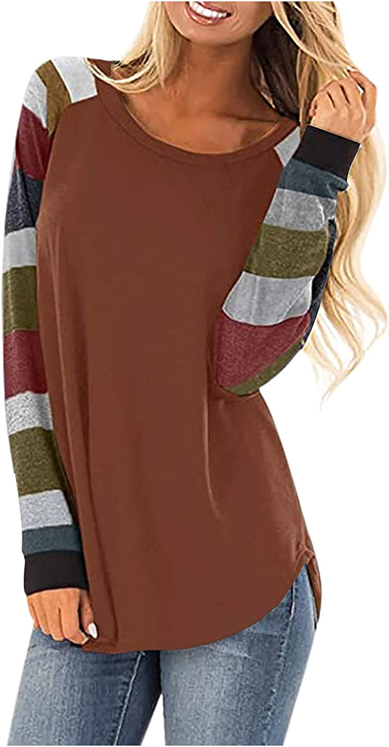 POLLYANNA KEONG Women Long Sleeve Blouse,Womens Colorblock Striped Round Neck Shirts Long Sleeve Blouse Casual Tops
