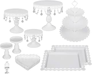Happybuy 9 PCS White Antique Cake Stand Set 3-Layer Tower Cake Plate Rectangle Cake Pans for Wedding Birthday Party Round Metal Cake Stands with Crystal Pendants and Beads (9PCS, White)