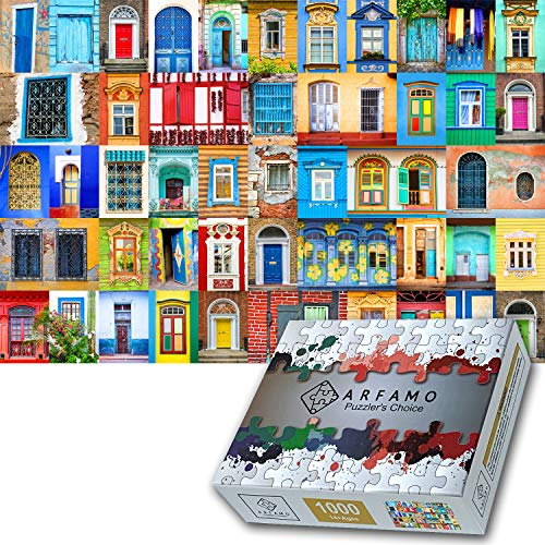 Arfamo Puzzles for Adults 1000 Piece Jigsaw Puzzles Challenging 1000 Piece Puzzle Educational Family Game DIY Mural Toys Gift for Adults Kids Teens Jigsaw Puzzles(Colored Windows)