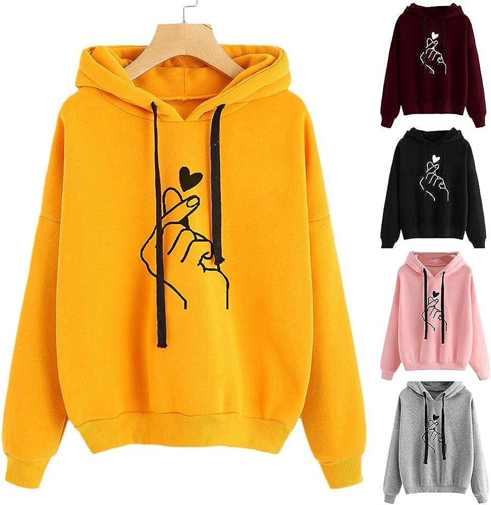 Fudule Cute Hoodies for Teen Girls Cute Heart Graphic Sweatshirts with Drawstring Fleece Long Sleeve Shirts Loose Blouse