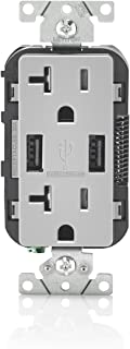 Leviton T5832-GY 20-Amp USB Charger/Tamper Resistant Duplex Receptacle, Gray
