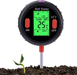 MEGICOT Soil Tester, 5-in-1 Soil Moisture Sunlight Humidity Temperature pH Meter for Garden Lawn Farm Indoor Outdoor Plant...
