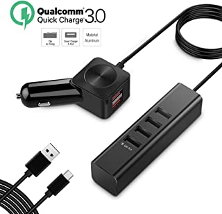 Seenda Car Charger, 60W 12A Aluminum Multiple 6-Port USB Car Charger Quick Charge 3.0 Car Charger Adapter with 5FT USB C Charging Cord n Backseat Clip for Galaxy S10 S9 S8 Note 10 9 LG Moto Nexus
