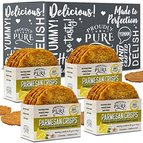 Proudly Pure Parmesan Cheese Crisps - Keto Snacks Zero Carb Crunchy Delicious Healthy 100% Natural Aged Cheesy Parm Chips Wheat, Soy & Gluten Free Keto Crackers Low Carb Snack | Onion/Poppy/Garlic 4PK