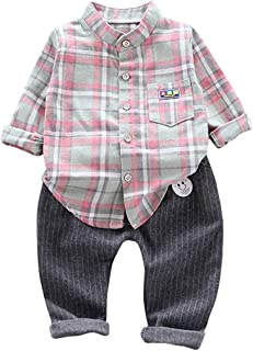 Christmas Merry Wishes 2020 New 2PCS Outfit Set Toddler Baby Boy Suit, Striped Plaid Long Sleeve T-Shirt + Pants Toddler B...