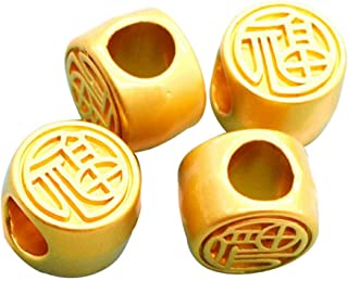XQingmei 20 Pieces Gold Beads Chinese Style Blessing Character 10 MM Metal Large Hole Spacer Beads DIY Charm Jewelry Craft...