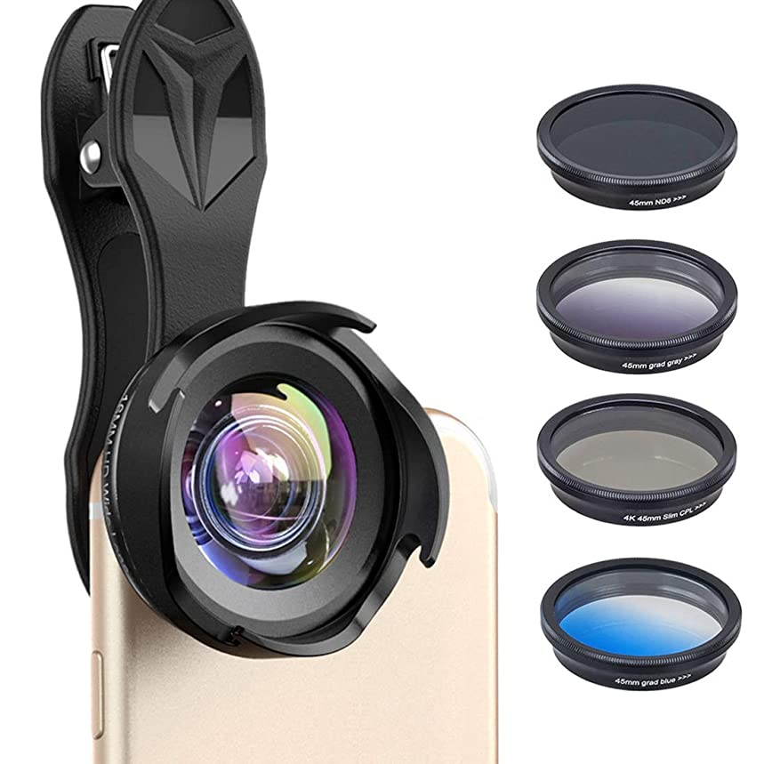 AUSWIEI 6in1 Cell Phone Camera Lens Kit, Wide Angle/Marco/ND8/CPL Minus/Grad Blue/Grad Gray Lens for iPhone Samsung and Most Smartphone