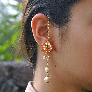 Abhika Creations Women's Orange Kanauti Hand-Made Earrings Adorned With Golden Chains And Multiple Dangling Pearls Traditional Handmade Women Punjabi Wedding Kundan Work Kanauti Earrings