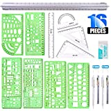 ★【Set Include】: In this measuring template ruler set, it include 1x multifunctional drawing template, 1x building template, 1x geometric drawing template, 1x furniture building template, 2 x double scale building ruler, 1x protractor, 2 x triangle ru...