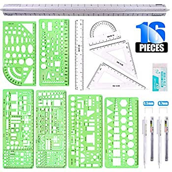 Glarks 16 Pieces Measuring Templates Building Formwork Stencils Geometric Drawing Rulers and Triangular Architect Scale Ruler with Pencil Pencil Lead Refills Eraser for Office and School