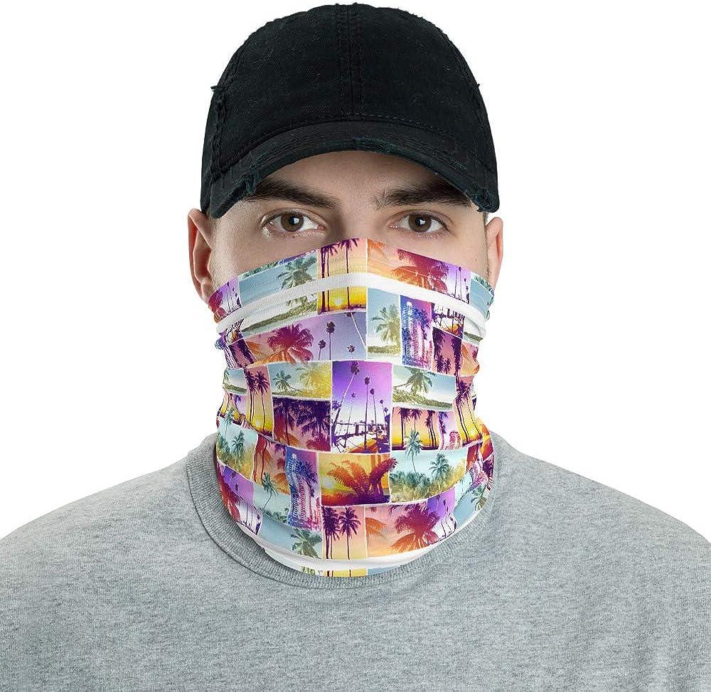 Colorful Beach Photo Neck Gaiter For Women Washable Face Mask Multi-Purpose 12 In 1 Bandana Scarf Headband Hairband Coverings Headwear