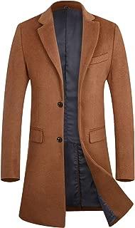 Men's Winter Trench Coat Slim Fit Wool Blend Long Pea Coat Jacket Business Suits