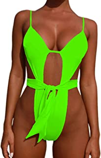 ALBIZIA Women's Criss Cross High Leg Cut One-Piece Swimsuit Thong Monokini