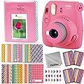 Fujifilm Instax Mini 9 Instant Fuji Camera (Flamingo Pink) + Accessories Bundle + Custom Matching Case w/Neck Strap + Photo Album + Assorted Frames + 4 Color Filters + 60 Sticker Frames + More