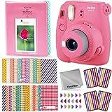 FujiFilm Instax Mini 9 Instant Camera (Flamingo Pink) + Accessories Kit Includes: 64 Pocket Photo Album, 60 Colorful Sticker Frames, Corner Stickers, HeroFiber Cloth + Accessory Bundle