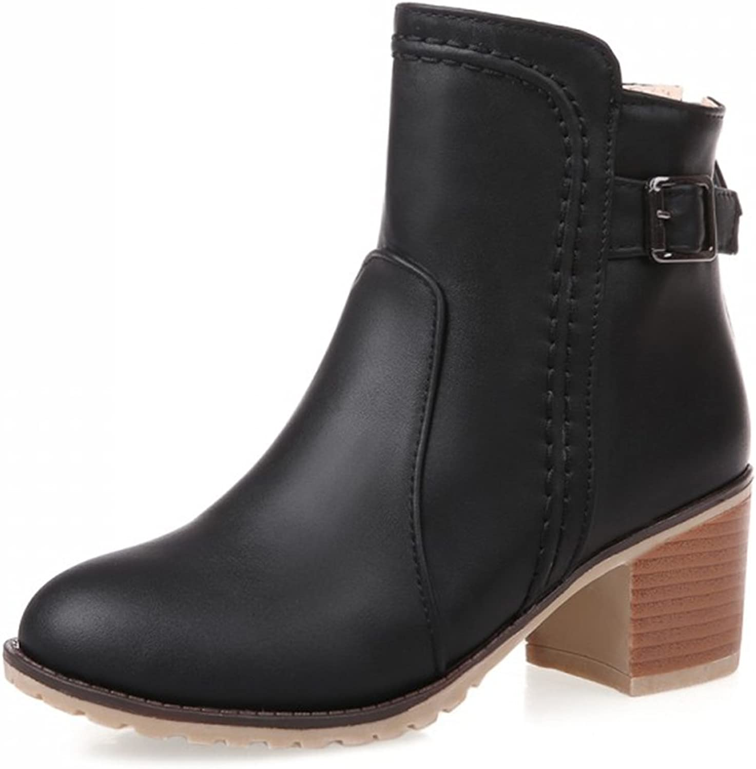 IDIFU Women's Casual Stacked Chunky Heel Buckle Short Ankle Booties