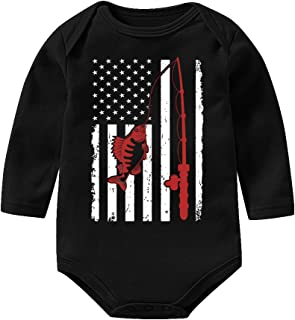 740e4a1bb LianMai Fishing with American Flag Unisex Baby Girls Boys Bodysuits Long  Sleeve Onesies Romper Outfits Jumpsuit