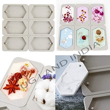 UG LAND INDIA 6-Cavity Hexagonal Aromatherapy Wax Plaster Epoxy Soap Silicone DIY Molds Supply Polygon Shaped Dried Flowers Resin Soap Clay Craft Making Mold DIY Pendant Bookmark Necklace Jewelry Making Mould