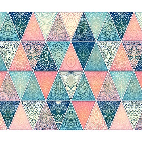 decomonkey Fototapete selbstklebend Ornament Orient Bunt 343x256 cm XL Selbstklebende Tapeten Wand Fototapeten Tapete Wandtapete klebend Klebefolie Geometrische Muster Mandala blau rosa