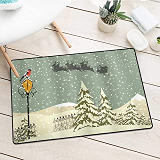 Wang Hai Chuan Inlet Outdoor Door mat Santa-Claus-Reindeer-Shower-Curtain Catch dust Snow and mud W31.5 x L47.2 Inch Christmas-Beige-Green-White-Vermilion